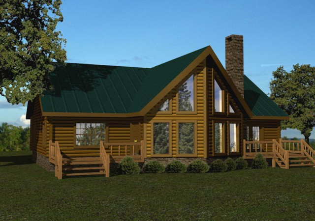 Single story log homes floor plans kits battle creek for One story log home plans