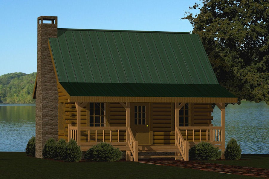 Log cabin floor plans under 1000 square feet for Front porch kits for sale