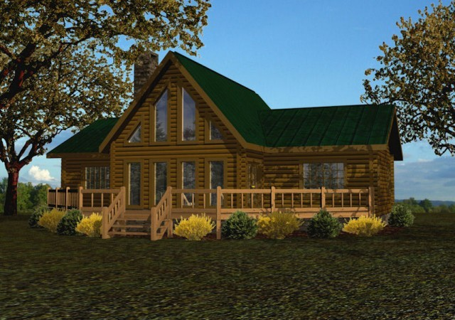 Single story log homes floor plans kits battle creek for One story log house plans