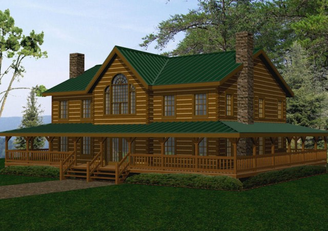 Large log homes cabins kits floor plans battle creek for Large log cabin homes