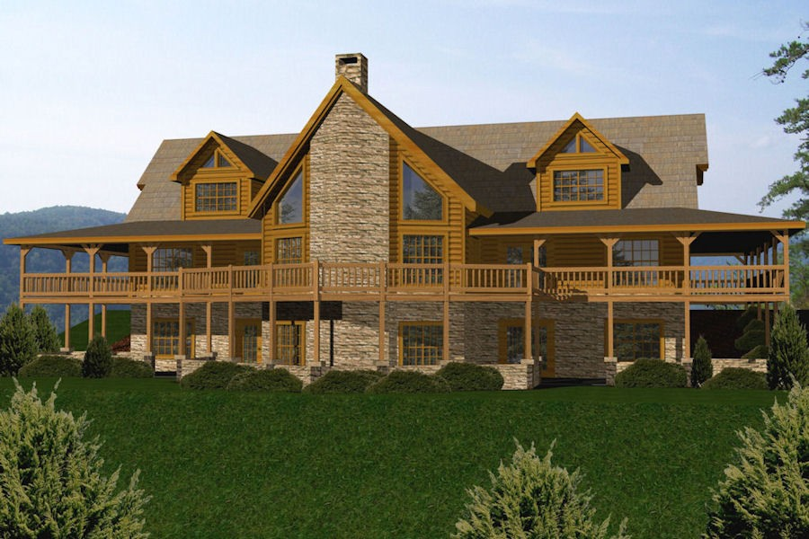 Log homes cabins houses battle creek log homes tn for Large cabin kits