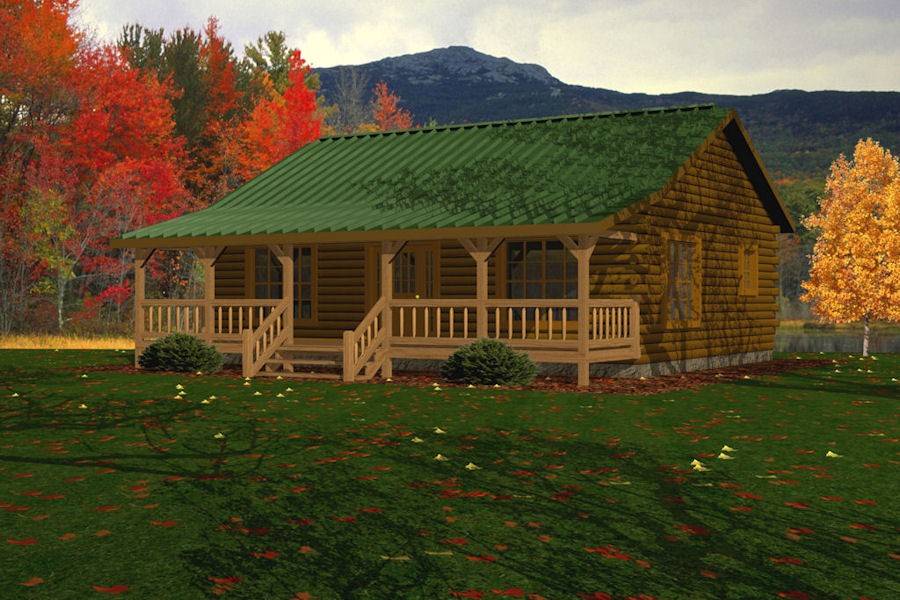 Kodiak battle creek log homes for Single level log home plans