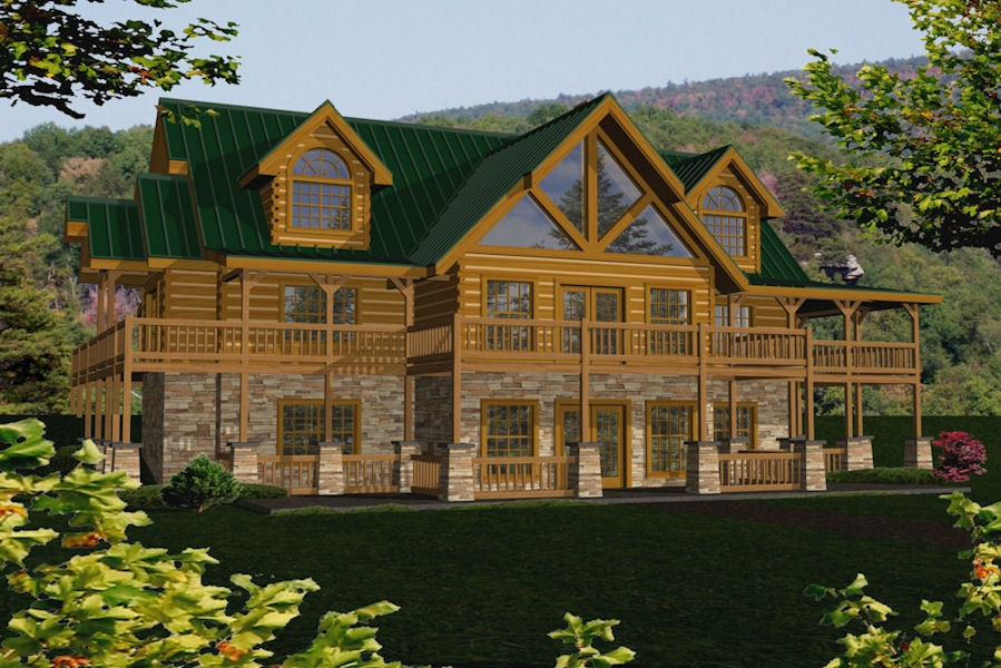Square log home floor plans for Large cabin kits