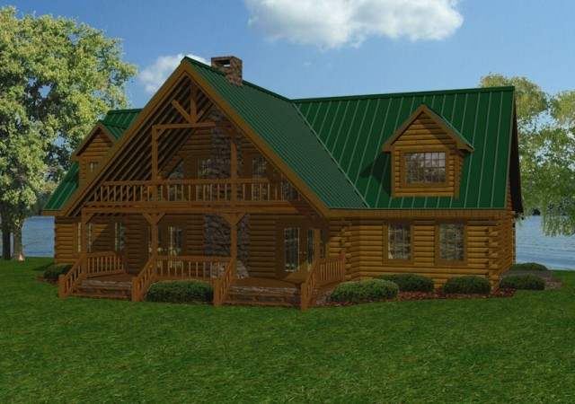 Large log homes cabins kits floor plans battle creek for Big log cabin homes