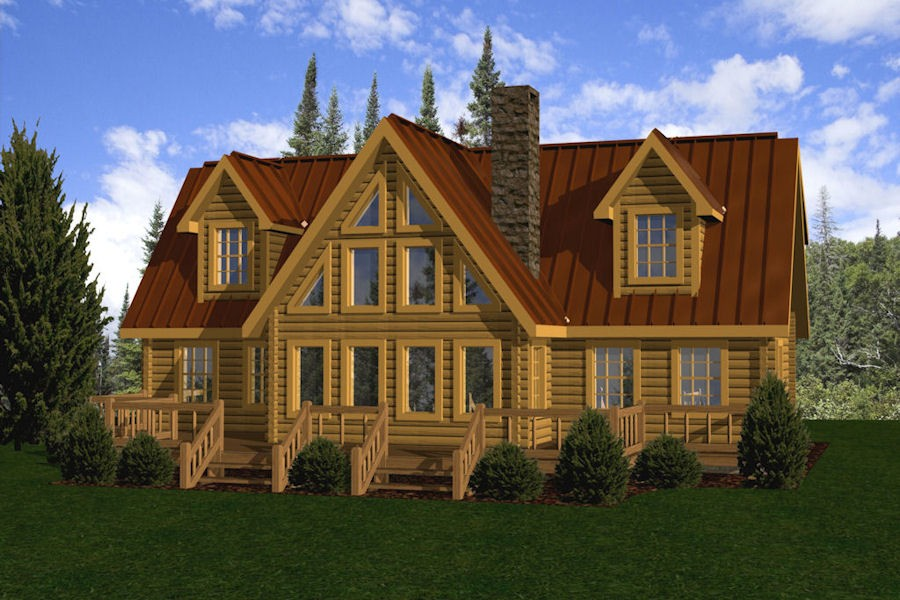 Log homes cabins houses battle creek log homes tn for Chalet cabin kits
