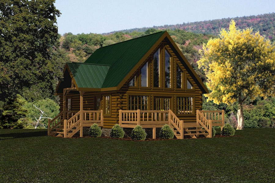 Walnut battle creek log homes for 1000 sq ft cabin kits