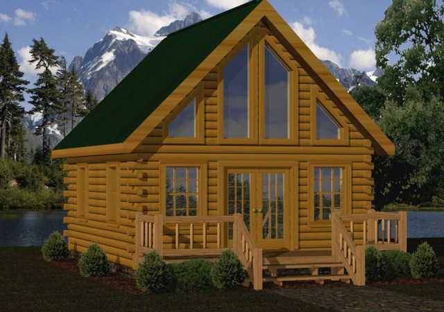 Small log cabin kits floor plans cabin series from for 1 bedroom log cabin kits