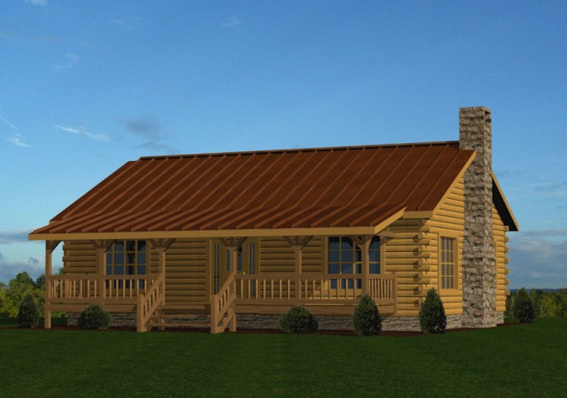 Single story log homes floor plans kits battle creek for 2 story cabin kits