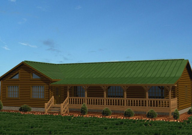 single story log homes floor plans kits battle creek ForSingle Level Log Home Plans