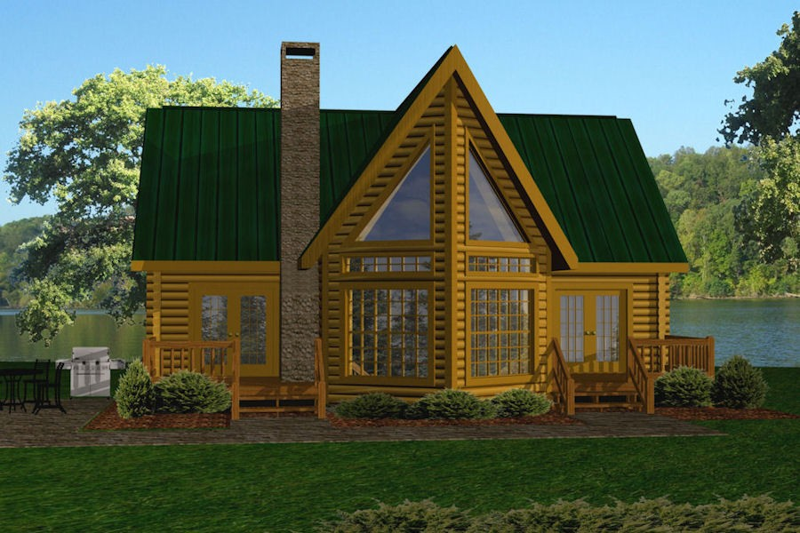 Lake front battle creek log homes for Lake house plans under 2000 square feet