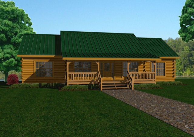 Single story log cabin floor plans gurus floor for Single story log cabin homes