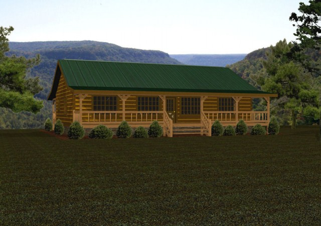 Single story log homes floor plans kits battle creek for Single story log cabin homes